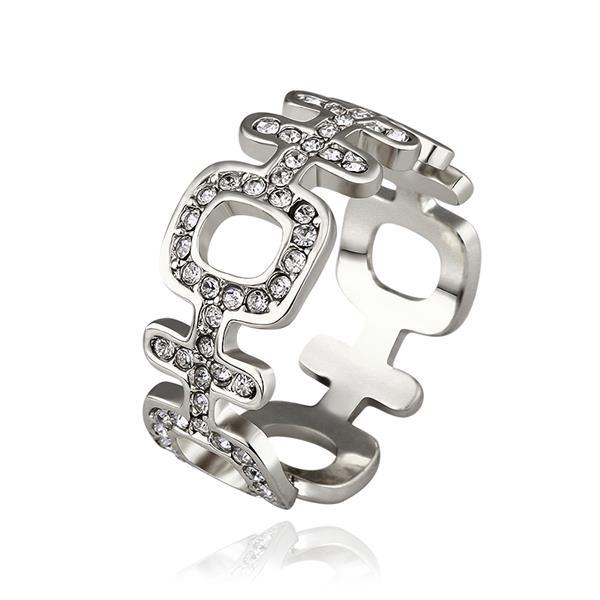 Vienna Jewelry White Gold Plated Laser Cut Horizontal Modern Ring Size 8