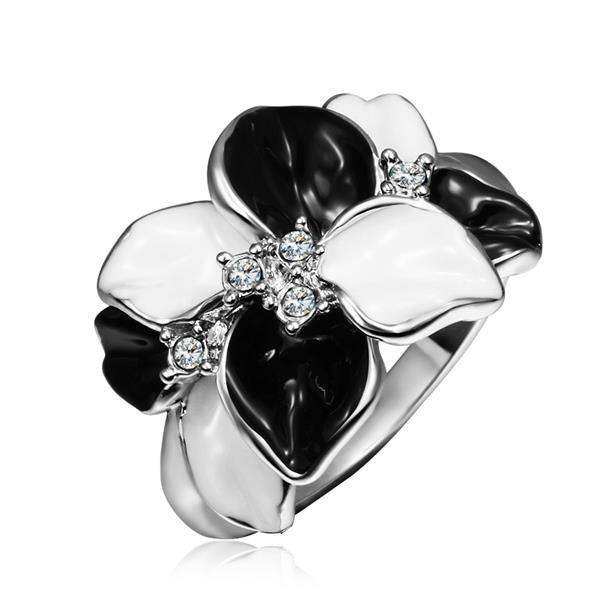 Vienna Jewelry White Gold Plated Onyx & Ivory Plated Ring Size 8
