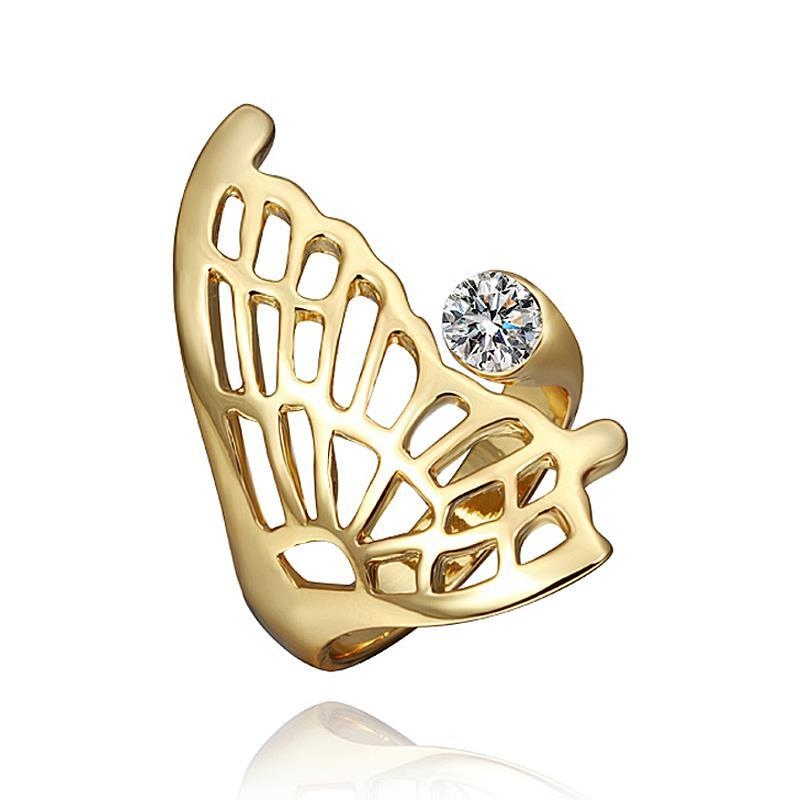 Vienna Jewelry Gold Plated Laser Cut Butterfly Wing Ring Size 8