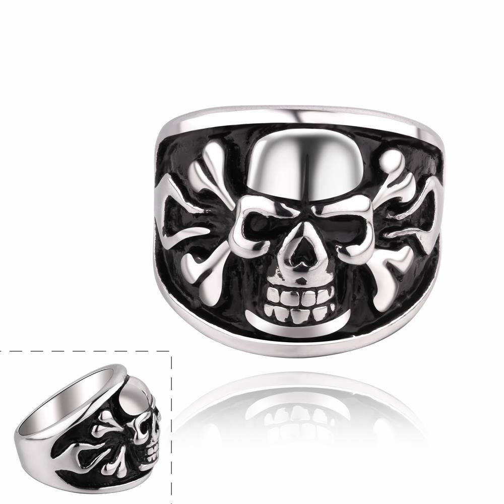 Vienna Jewelry Skull Ingrained Stainless Steel Ring