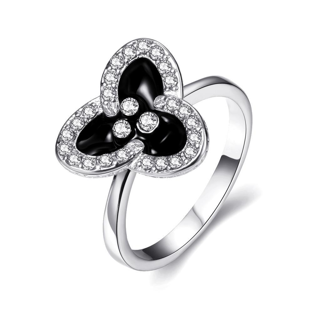 Vienna Jewelry White Gold Plated Triangular Clover Ring Size 8