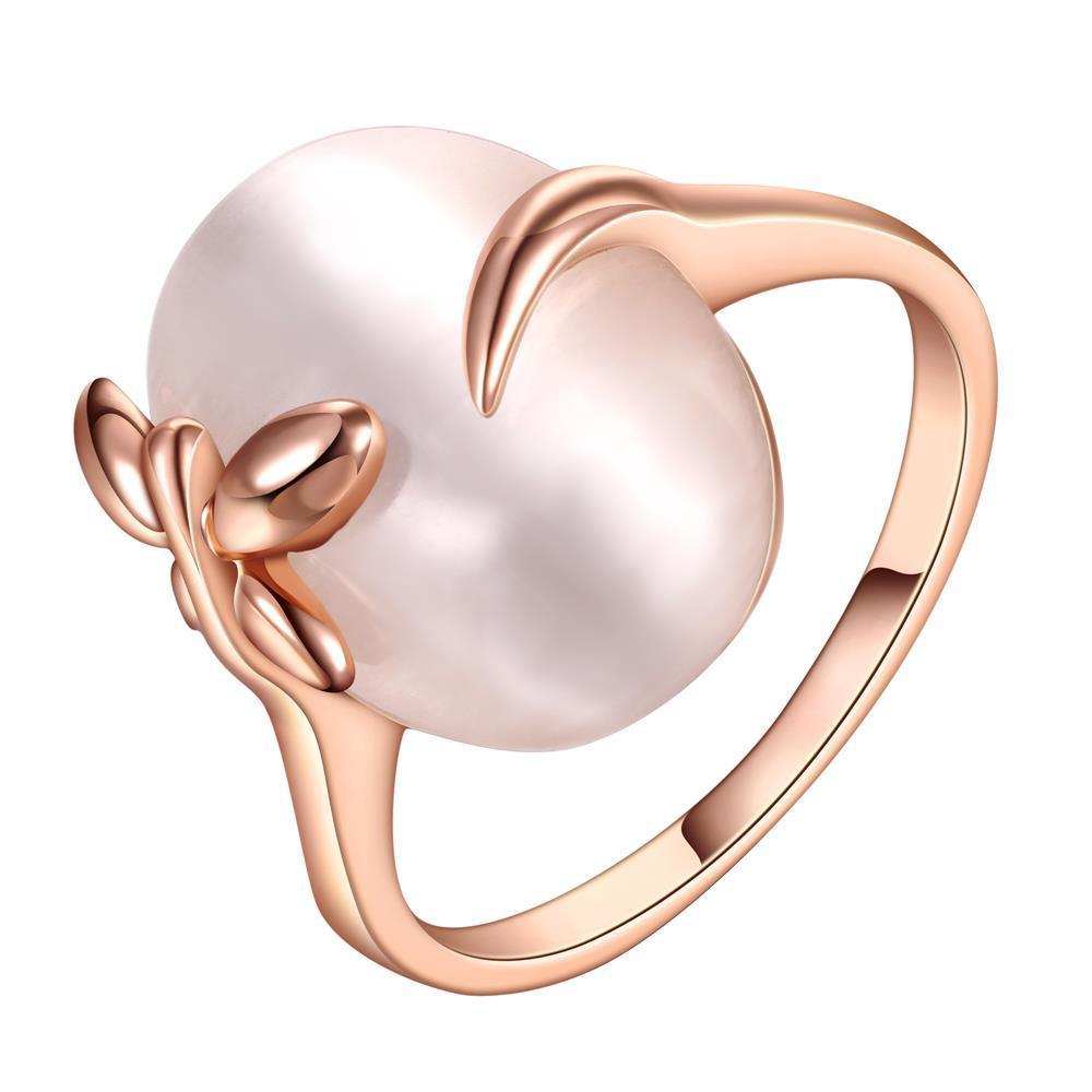 Vienna Jewelry Rose Gold Plated Closing Pearl Center Ring Size 8