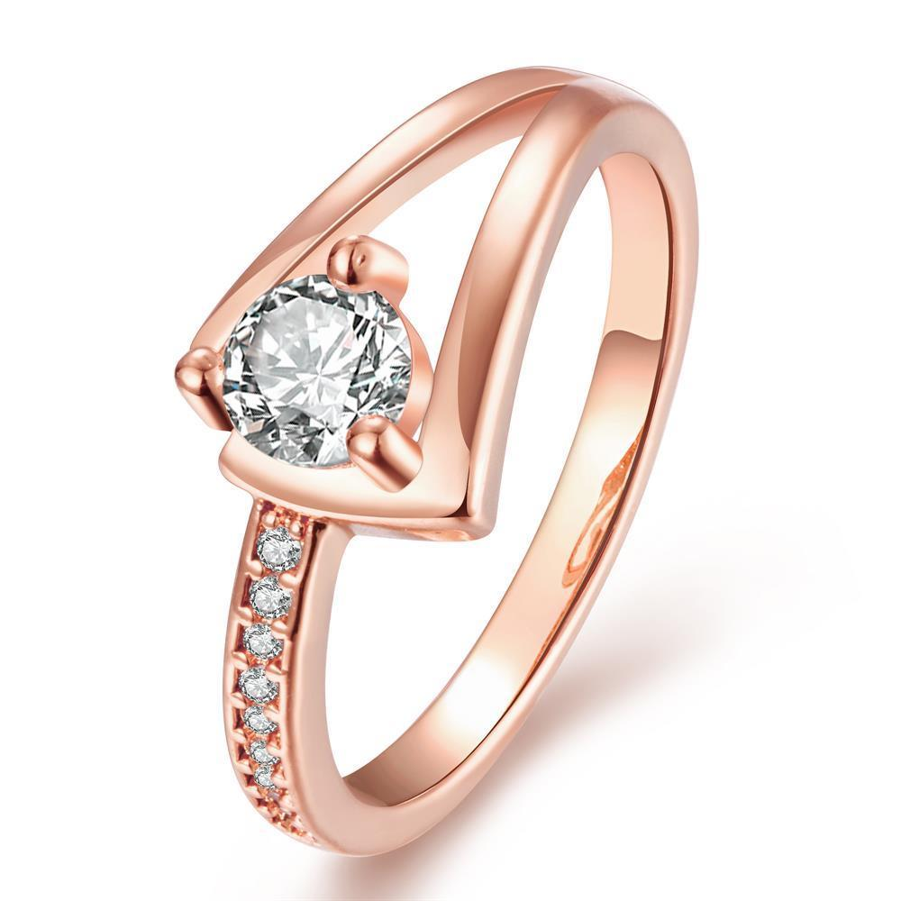 Vienna Jewelry Rose Gold Plated Angular Curved Crystal Ring Size 7 - Thumbnail 0