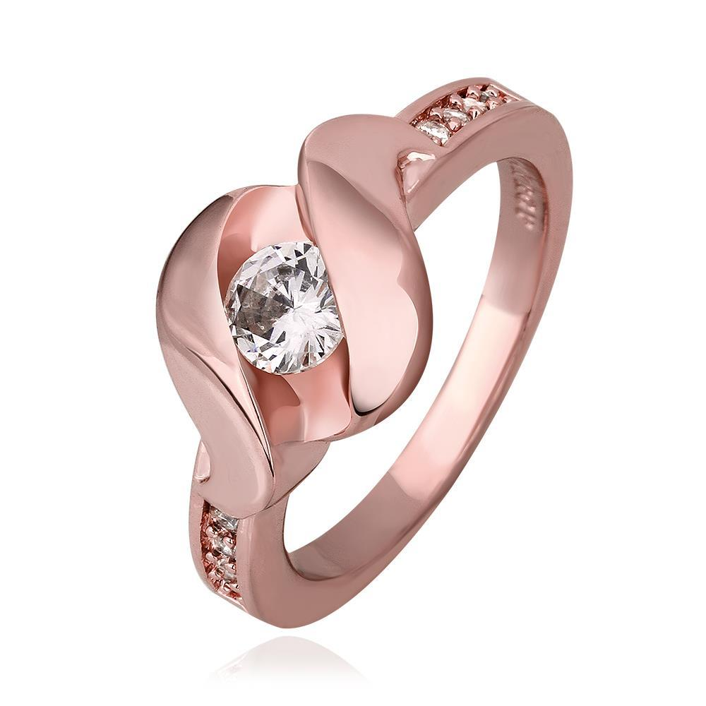 Vienna Jewelry Rose Gold Plated Lock Design with Crystal Jewel Ring Size 8