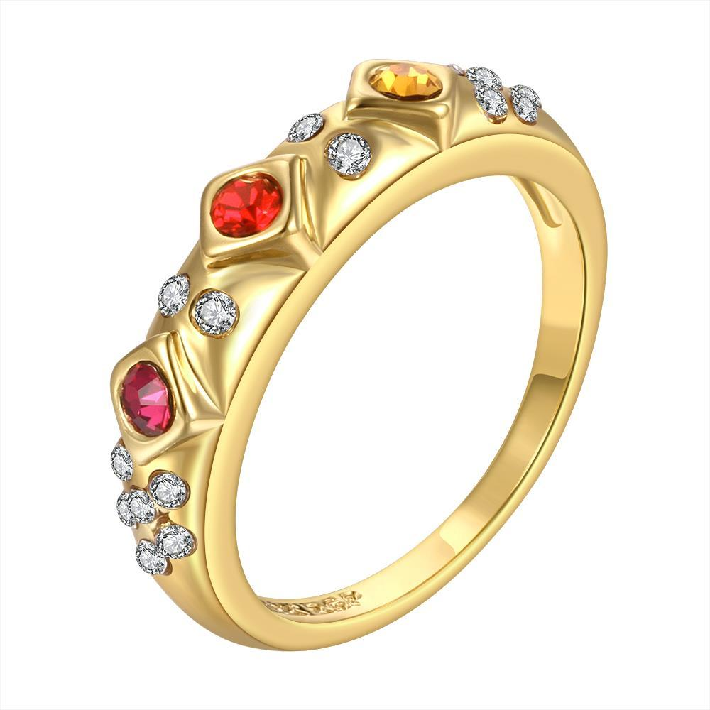 Vienna Jewelry Gold Plated Rainbow Jewels Lining Ring Size 8