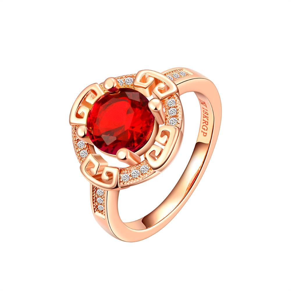 Vienna Jewelry Rose Gold Plated Celtic Design Ruby Ring Size 8