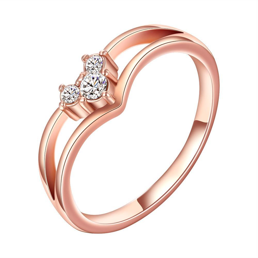Vienna Jewelry Rose Gold Plated Swirl Design with Petite Crystal Ring Size 8