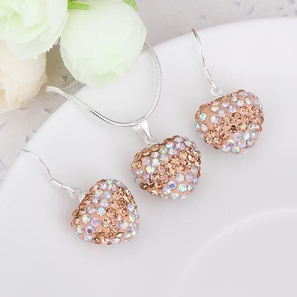 Vienna Jewelry Austrian Crystal Element Multi-Pave Heart Drop Earring and Necklace Set-Light Brown Crystal