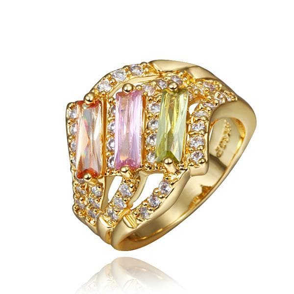 Vienna Jewelry Gold Plated Trio Light Wave Rainbow Jewels Ring Size 8