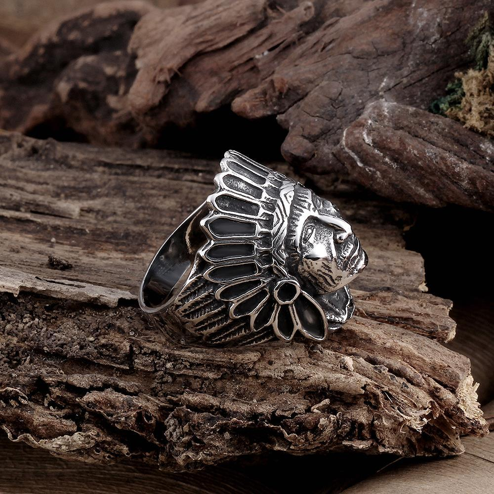 Vienna Jewelry The Indian Chief Stainless Steel Ring