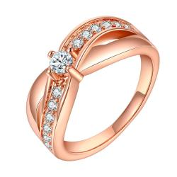 Vienna Jewelry Rose Gold Plated Crystal Lining Ring Size 7 - Thumbnail 0