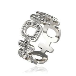 Vienna Jewelry White Gold Plated Laser Cut Horizontal Modern Ring Size 8 - Thumbnail 0