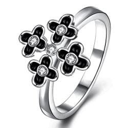 Vienna Jewelry White Gold Plated Quad-Petite Clover Cocktail Ring Size 8 - Thumbnail 0