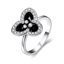 Vienna Jewelry White Gold Plated Triangular Clover Ring Size 8 - Thumbnail 0