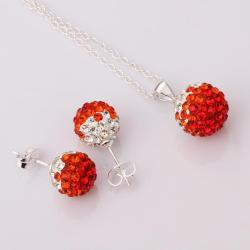 Vienna Jewelry Austrian Crystal Element Multi-Pave Earring Studs and Necklace Set-Red Crystal
