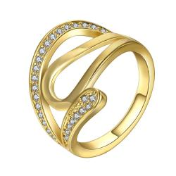 Vienna Jewelry Gold Plated Trio-Swirl Design Ring Coverd with Jewels Size - Thumbnail 0