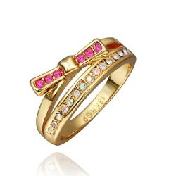 Vienna Jewelry Gold Plated Coral Citrine Linear Swirl Ring Size 8 - Thumbnail 0