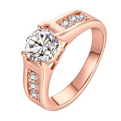 Vienna Jewelry Rose Gold Plated Classic Wedding Ring Size 8 - Thumbnail 0