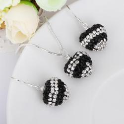 Vienna Jewelry Austrian Crystal Element Multi-Pave Heart Drop Earring and Necklace Set-Black Crystal