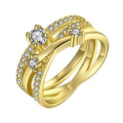 Vienna Jewelry Gold Plated Swirl Design Ring with Jewels Covering Size 7 - Thumbnail 0