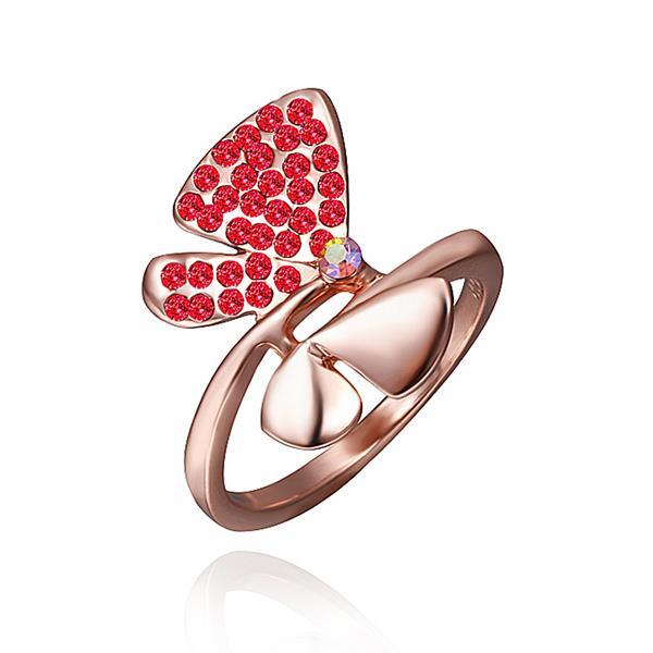 Vienna Jewelry Rose Gold Plated Ruby Red Jewels Covering Butterfly Ring Size 8