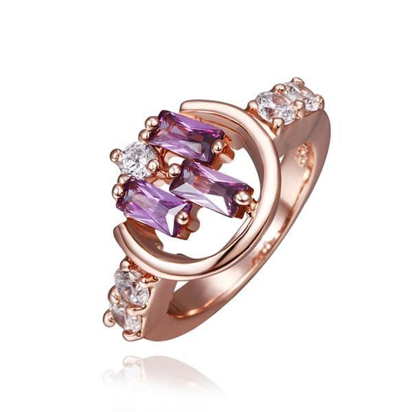 Vienna Jewelry Rose Gold Plated Lavender Citrine Linear Design Ring Size 8