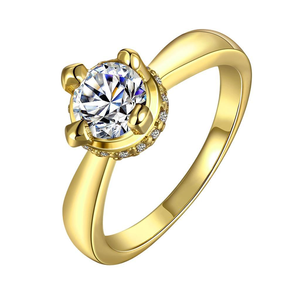 Vienna Jewelry Gold Plated Crystal Jewel Center Ring Size 7