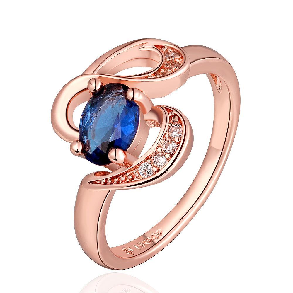 Vienna Jewelry Rose Gold Plated Swirl Saphire Design Ring Size 7