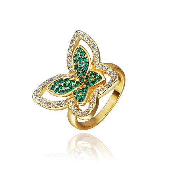 Vienna Jewelry Gold Plated Emerald Flying Butterfly Ring Size 8