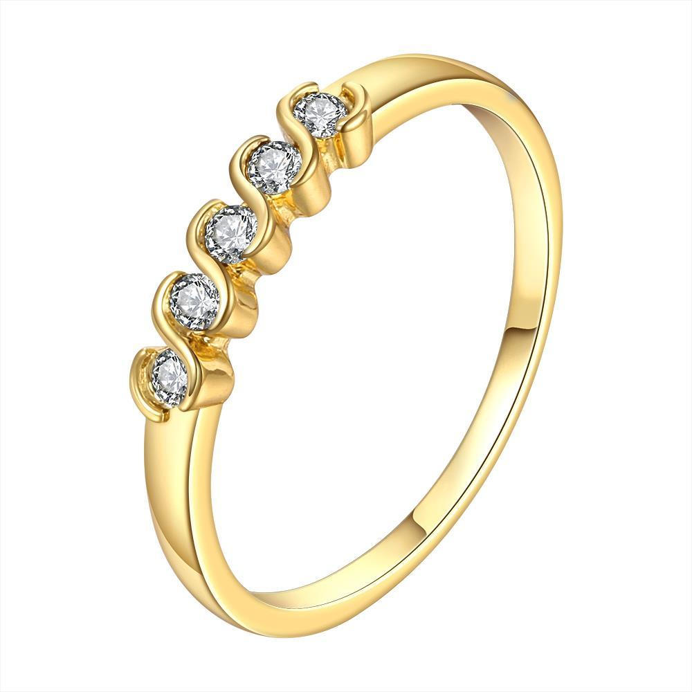 Vienna Jewelry Gold Plated Classic Swirl Crystals Ring Size 8