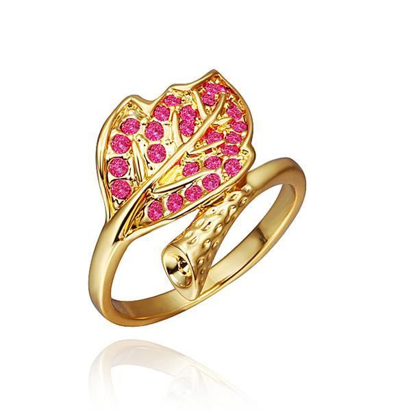 Vienna Jewelry Gold Plated Coral Twisted Leaf Branch Ring Size 8