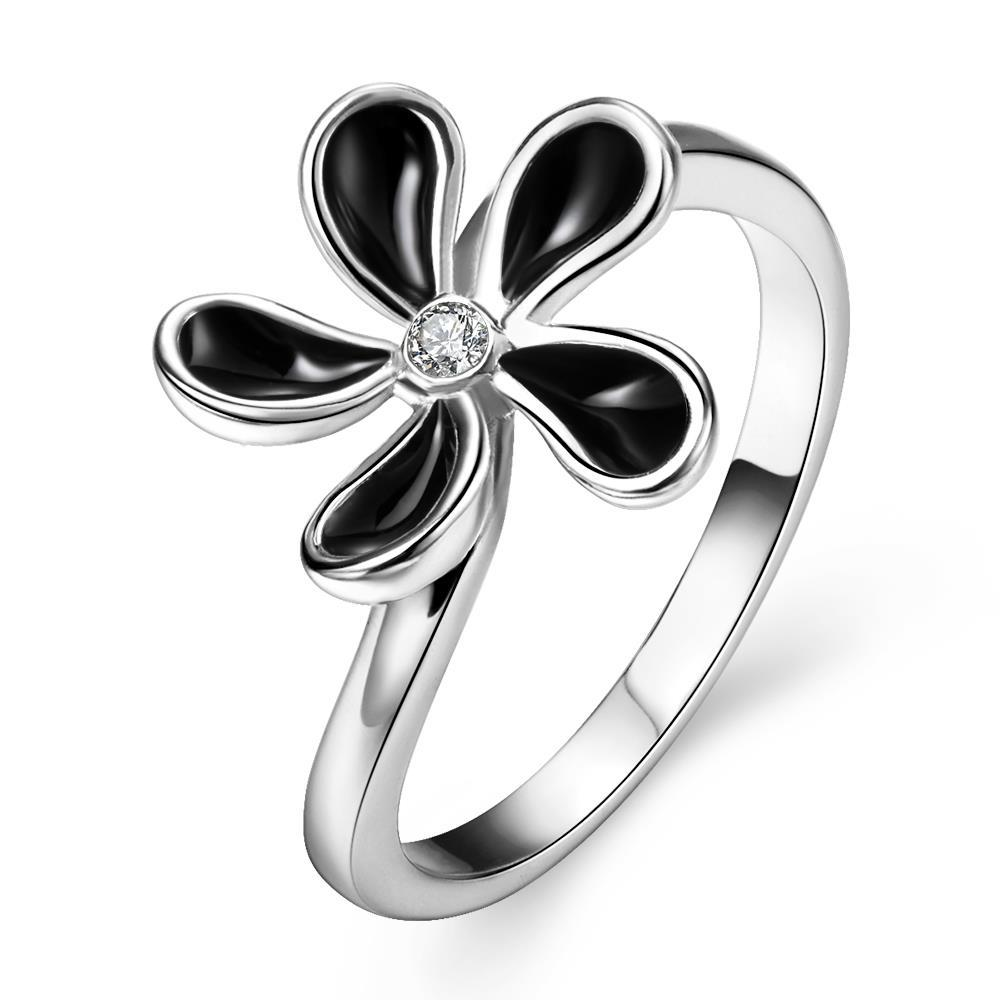 Vienna Jewelry White Gold Plated Classic Onyx Floral Petal Ring Size 7