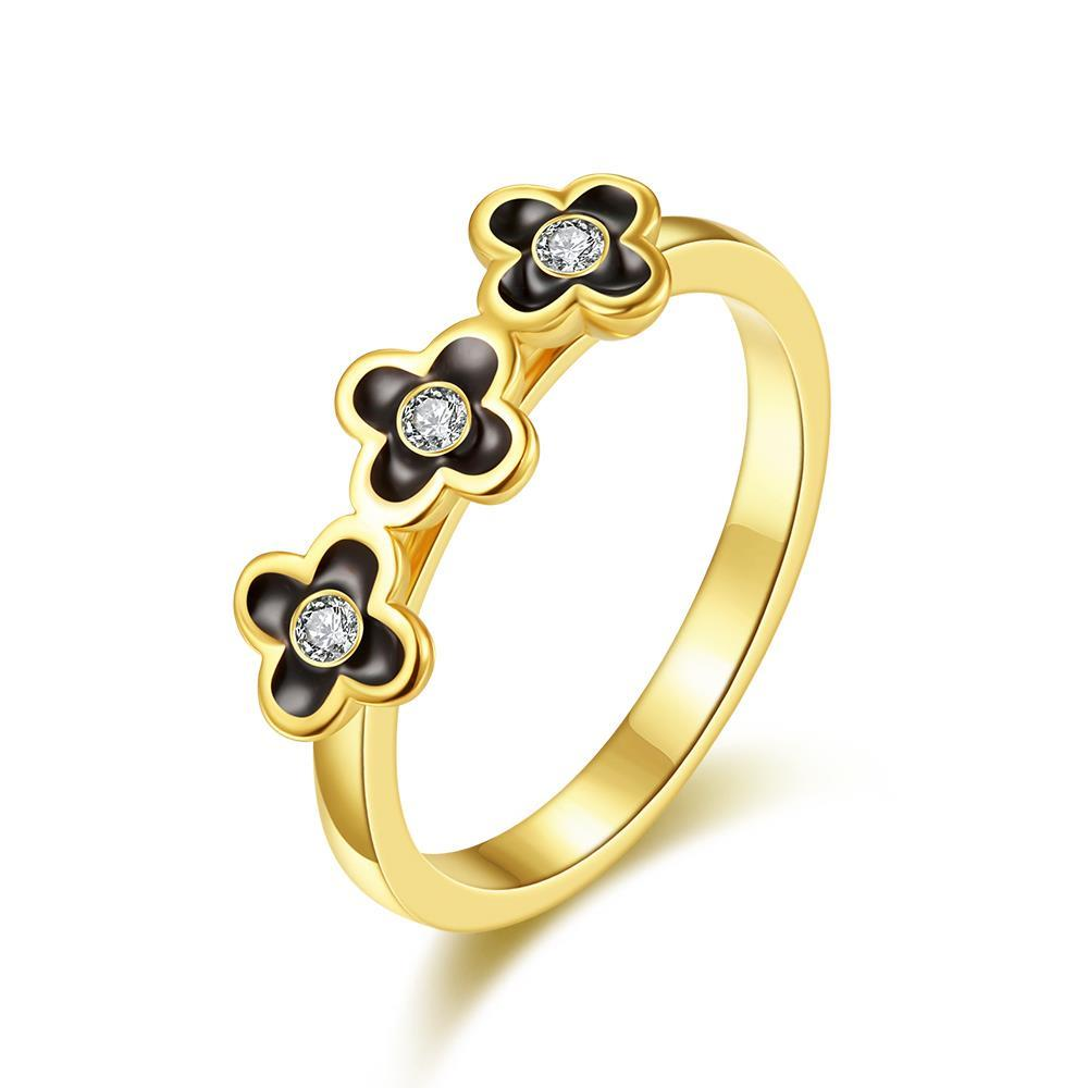 Vienna Jewelry Gold Plated Trio-Petite Clover Stud Ring Size 7