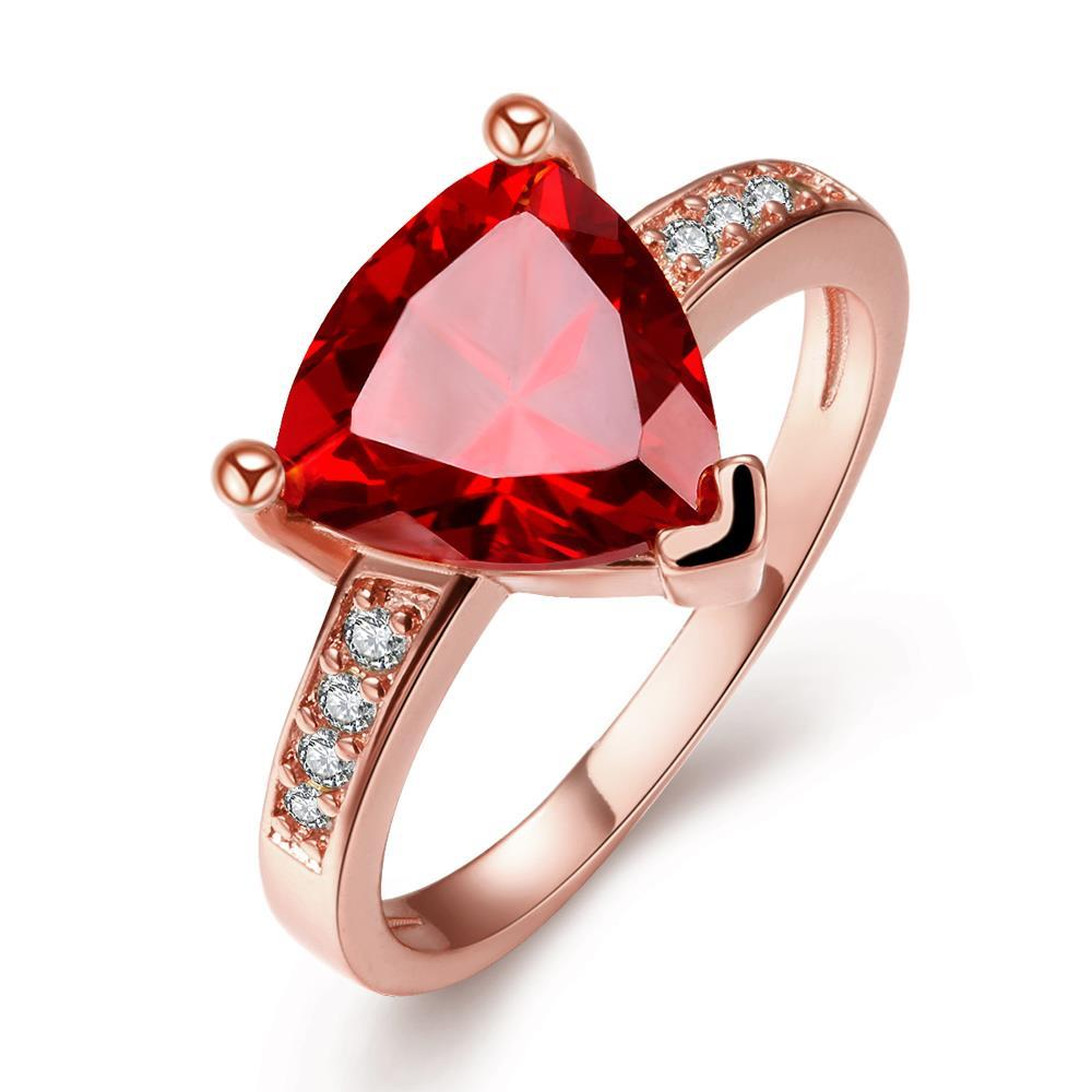 Vienna Jewelry Rose Gold Plated Triangular Ruby Classic Ring Size 8