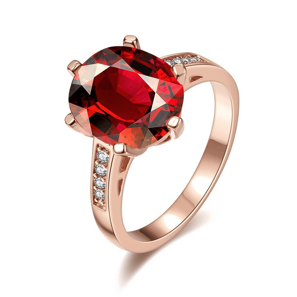 Vienna Jewelry Rose Gold Plated Medium Cut Ruby Red Ring Size 7