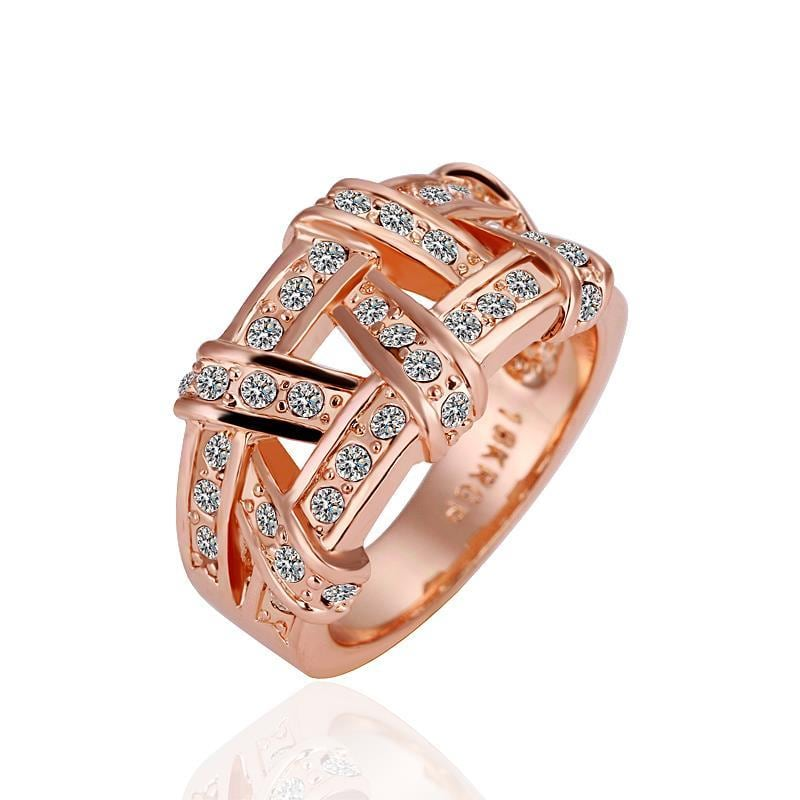 Vienna Jewelry Rose Gold Plated Abstract Tied Jewels Covering Ring Size 6