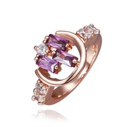 Vienna Jewelry Rose Gold Plated Lavender Citrine Linear Design Ring Size 8 - Thumbnail 0