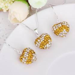 Vienna Jewelry Austrian Crystal Element Multi-Pave Heart Drop Earring and Necklace Set- Golden Stripe