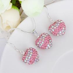 Vienna Jewelry Austrian Crystal Element Multi-Pave Heart Drop Earring and Necklace Set-Light Pink Crystal