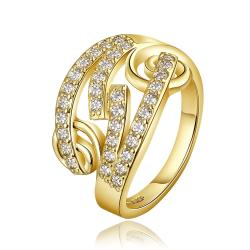 Vienna Jewelry Gold Plated Multi Swirl Design Jewels Covering Ring Size 8 - Thumbnail 0