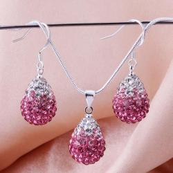 Vienna Jewelry Austrian Crystal Element Multi-Pave Earring and Necklace Set-Pink Fusion