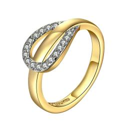 Vienna Jewelry Gold Plated Crystal Band Connection Ring Size 7 - Thumbnail 0