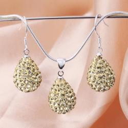 Vienna Jewelry Austrian Crystal Element Solid-Pave Pear Earring and Necklace Set-Beige Crystal