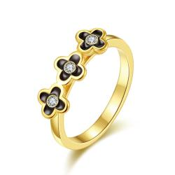 Vienna Jewelry Gold Plated Trio-Petite Clover Stud Ring Size 7 - Thumbnail 0