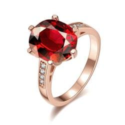 Vienna Jewelry Rose Gold Plated Medium Cut Ruby Red Ring Size 7 - Thumbnail 0