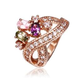 Vienna Jewelry Rose Gold Plated Cocktail Swirl Centerpiece Ring Size 8 - Thumbnail 0