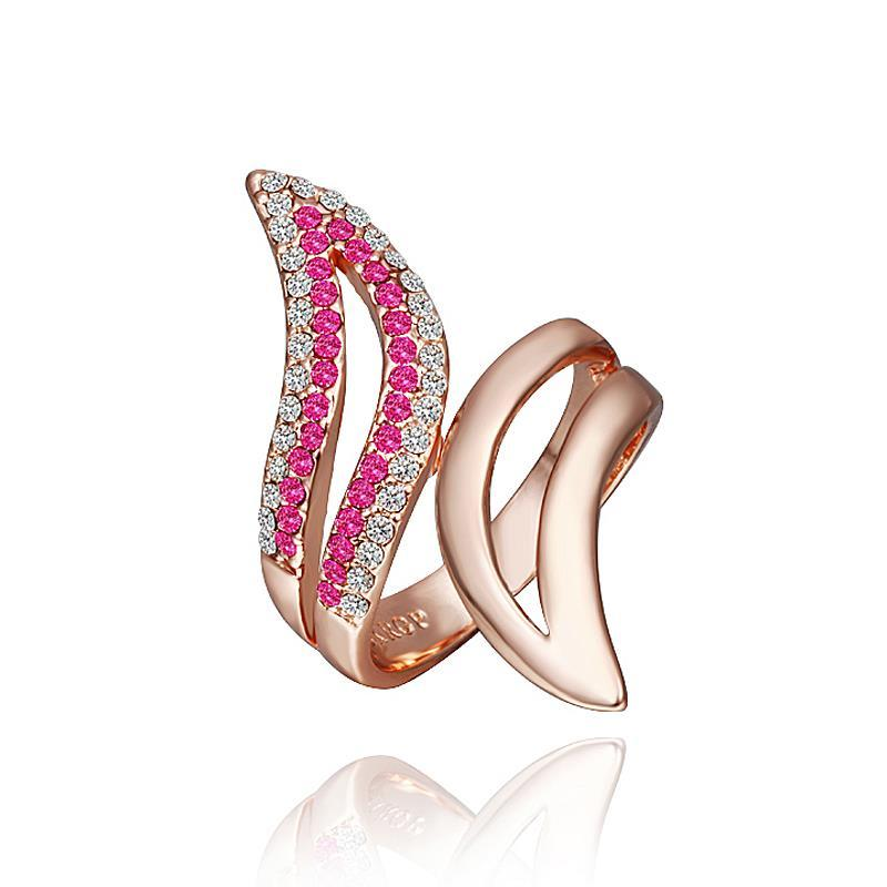 Vienna Jewelry Rose Gold Plated Swirl Ring with Coral Jewel Ring Size 8