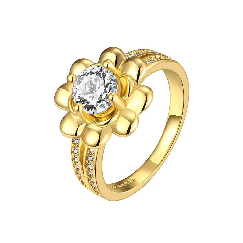 Vienna Jewelry Gold Plated Petite Floral Emblem Ring Size 7