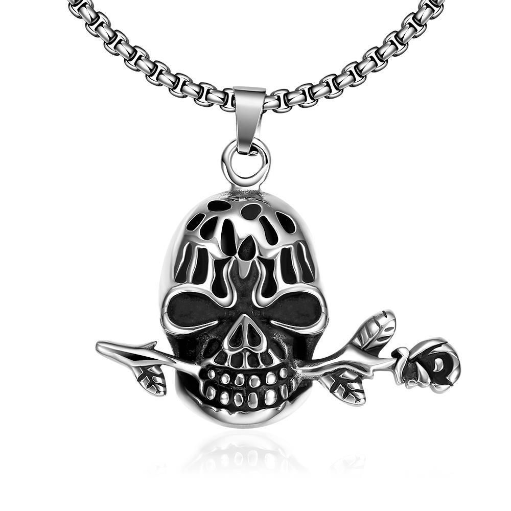 Vienna Jewelry Skull's Rose Emblem Stainless Steel Necklace