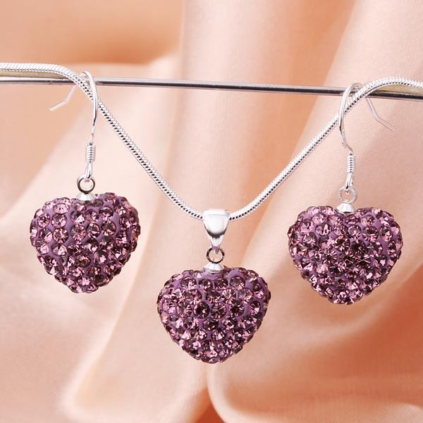 Vienna Jewelry Austrian Crystal Element Solid-Pave Heart Earring and Necklace Set-Solid Purple